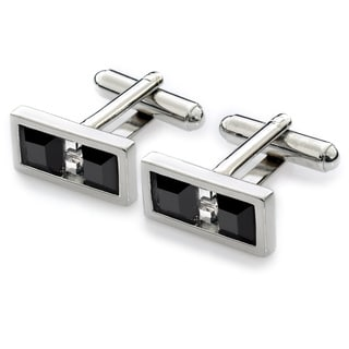 EJ Sutton Classic Swarovski Crystal Cuff Links, Black and White (Israel)
