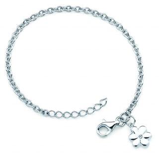 Little Diva Diamonds Silver Children's Diamond Accent Flower Bracelet