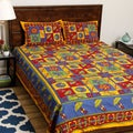 Sanganeri Bedspread with Printed Umbrellas and Kantha Stitch Embroidery (India)