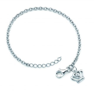 Little Diva Diamonds Silver Children's Diamond Accent Crown Bracelet