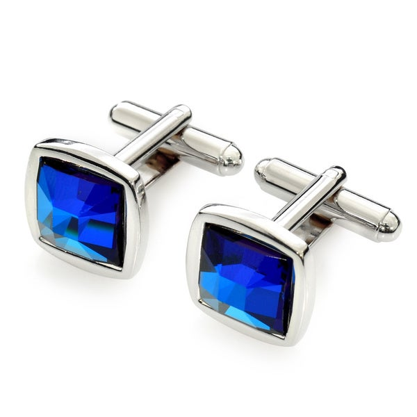 EJ Sutton Classic Swarovski Crystal Cuff Links, Royal Blue (Israel)