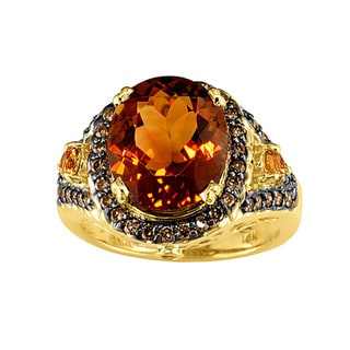 14k Yellow Gold Citrine and 1/2ct TDW Brown Diamond Ring