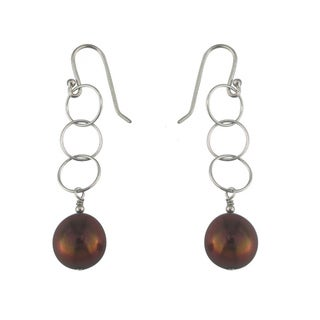Silver Chocolate Dyed Pearl Dangle Earrings
