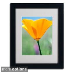 Kathy Yates 'California Poppy Closeup' Framed Matted Art