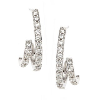 Neda Behnam 14K White Gold Diamond Swirl Earrings