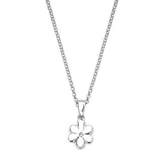 Little Diva Diamonds Silver Children's Diamond Accent Flower Necklace