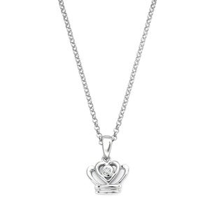 Little Diva Diamonds Silver Children's Diamond Accent Crown Necklace