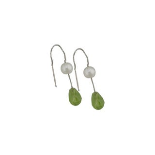 14K White Gold White Pearl and Peridot Dangle Earrings