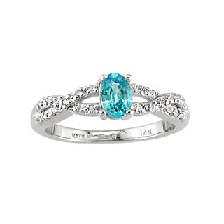 14k White Gold Blue Zircon and 1/10ct TDW Diamond Ring (H, SI3)