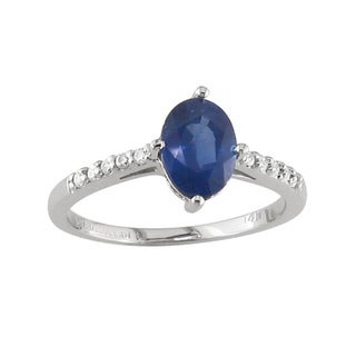 14k White Gold Sapphire and 1/10ct TDW Diamond Ring (H, I1)