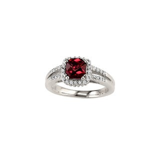 14k White Gold Rhodolite Garnet and 1/4ct TDW Diamond Ring (H, SI3)