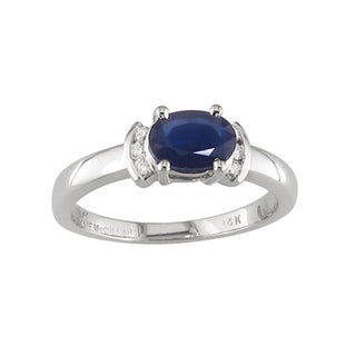 14k White Gold Blue Sapphire and 1/10ct TDW Diamond Ring (H, I1)