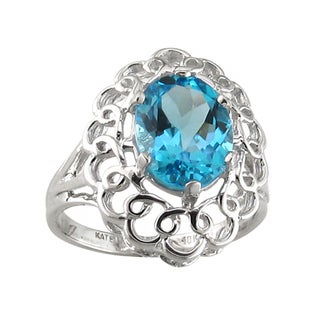 10k White Gold Oval-cut Blue Topaz Ring