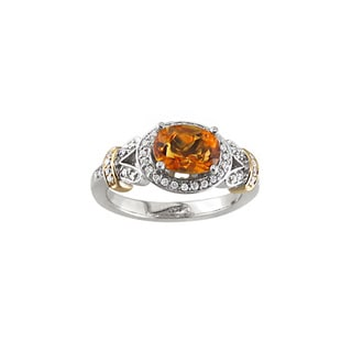 14k Two-tone Gold Citrine and 1/5ct TDW Diamond Ring (H, I1)