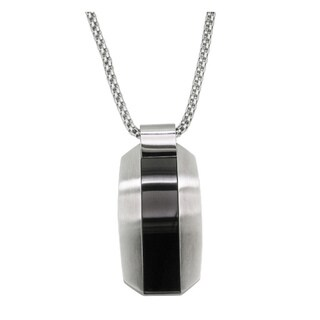 Stainless-Steel Black Enamel Contemporary Gents Pendant Necklace
