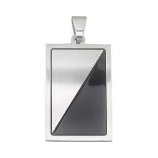 Stainless Steel Black Enamel Gents Pendant Necklace