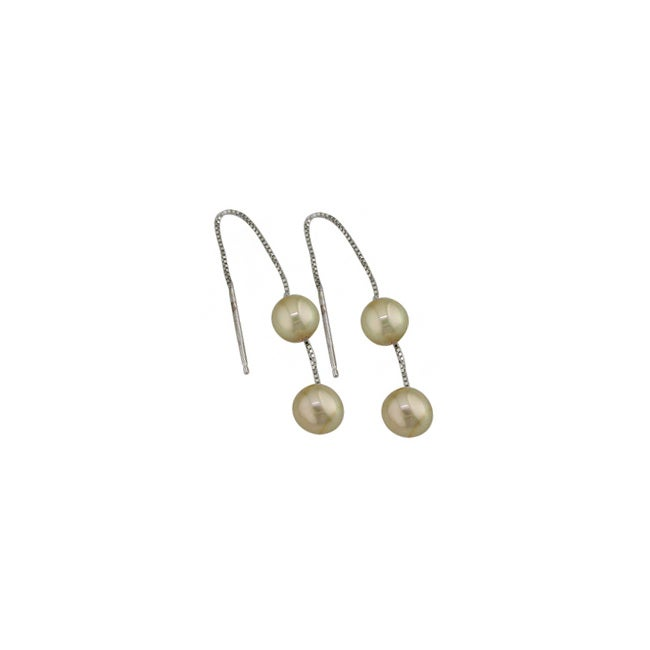 14k White Gold Dyed Gold Pearl Threader Earrings