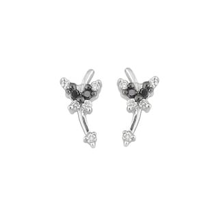 Silver 1/10ct TDW Black and White Diamond Butterfly Earrings (H, I1)