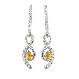 14k White Gold 1/2 CT TW Diamond and Yellow Sapphire Dangle Earrings (H, SI3)