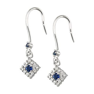 14k White Gold Pear Ceylon Sapphire 1/4 CT TW Diamond Earrings (H, I1)