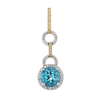 14k Two-Tone Gold Blue Topaz 1/4 CT TW Diamond Pendant (H, SI3)