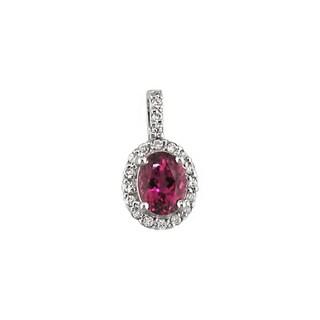 14k White Gold Oval Pink Tourmaline 1/5 CT TW Diamond Pendant (H, SI3)