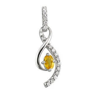 14k White Gold Oval Yellow Sapphire 1/4 CT TW Diamond Pendant (H, I1)