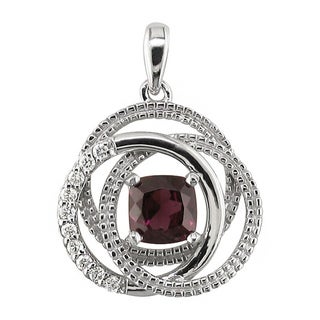 14k White Gold Cushion Rhodolite Garnet 1/5 CT TW Diamond Rings Pendant (H, SI3)