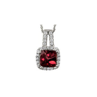 14k White Gold Cushion Rhodolite Garnet 1/5 CT TW Diamond Pendant (H, SI3)