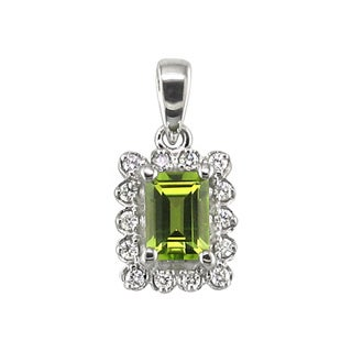14k White Gold Emerald Cut Peridot 1/5 CT TW Diamond Pendant (H, I1)
