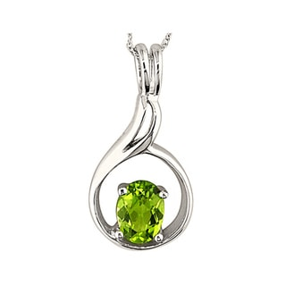 14k White Gold Green Peridot Pendant