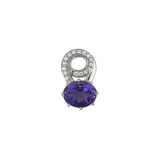 14k White Gold Amethyst and 1/6ct TDW Diamond Pendant (H, I1)