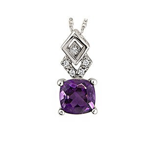 14k White Gold Amethyst and Diamond Accent Pendant