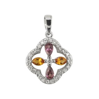 14k White Gold Marquise Citrine 1/3 CT TW Diamond Cross Pendant (H, I1)