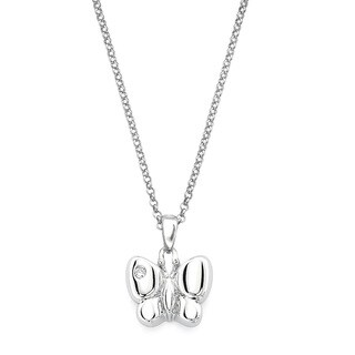 Little Diva Diamonds Silver Children's Diamond Accent Butterfly Necklace