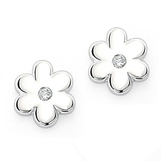 Little Diva Diamonds Sterling Silver Children's Diamond Flower Earrings