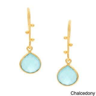 Handmade Goldplated Silvertone Gemstone Earrings (India)