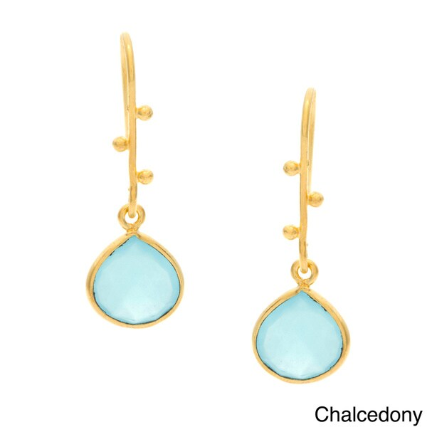 Handmade Goldplated Silvertone Gemstone Earrings (India)
