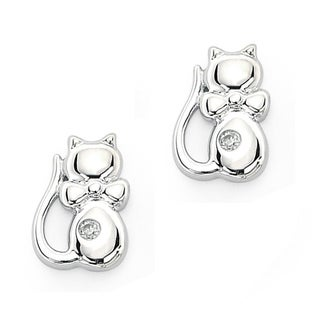 Little Diva Diamonds Sterling Silver Children's Diamond Kitten Earrings