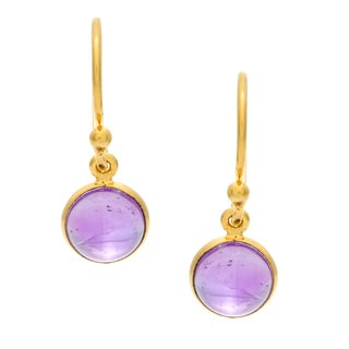 Goldplated Amethyst Silvertone Earrings (India)