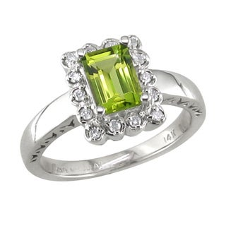 14k White Gold Peridot and 1/6ct TDW Diamond Ring (H, I1)