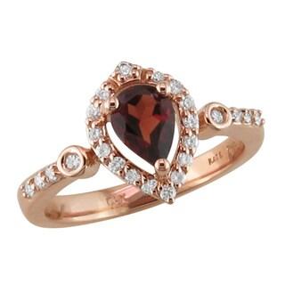14k Rose Gold Garnet and 1/4ct TDW Diamond Ring (H, SI3)