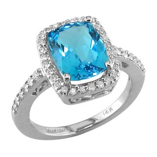 14k White Gold Blue Topaz and 1/5ct TDW Diamond Ring (H, SI3)