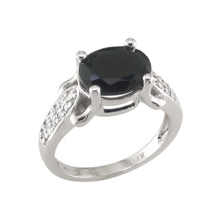 14k White Gold Black Onyx and 1/5ct TDW Diamond Ring (H, I1)