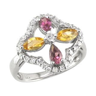 14k Gold Rhodolite Garnet, Citrine and 1/3ct TDW Diamond Ring (H, I1)
