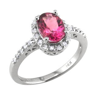 14k White Gold Pink Tourmaline and 1/4ct TDW Diamond Ring (H, I1)