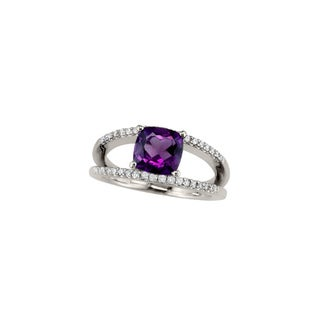 14k White Gold Amethyst and 1/4ct TDW Diamond Ring (H, SI3)