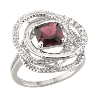 14k White Gold Rhodolite Garnet and 1/5ct TDW Diamond Ring (H, SI3)