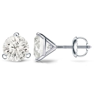 Auriya Platinum 1/4 Ct to 3/4 Ct TDW Martini Diamond Stud Earrings (H-I, SI1-SI2)