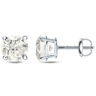 Auriya 18k White Gold 1/4ct to 3/4ct TDW Round Diamond Stud Earrings (H-I, SI1-SI2)